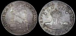 """World Coins - 1831 PTS-JF Bolivia 8 Soles """"Bolivar"""""""" - AU Silver"""