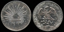 World Coins - 1889 GoRR Mexico (Guanajuato) 8 Reales UNC