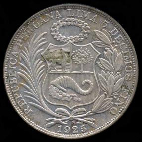 World Coins - 1925 Peru 1 Sol AU