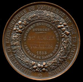 "World Coins - 1855 France – Ministry of Agriculture Regional Competition Prize Medal for ""Good Poultry"" by Armand-Auguste Caqué"