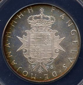 World Coins - 1968 Order of Malta 3 Scudi - St. John (Silver - F.A.O. Series) ANACS PF67 Cameo