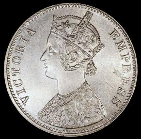 World Coins - 1900 C India (British) 1 Rupee - Queen Victoria - UNC Silver