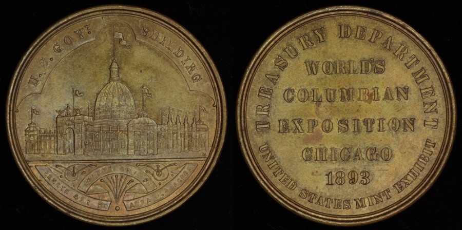 US Coins - 1893  United States - World's Columbian Exposition, Chicago, Illinois (Type II - Small Letters Obverse)