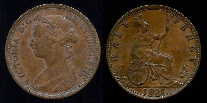 World Coins - 1891 Great Britain 1/2 Penny UNC