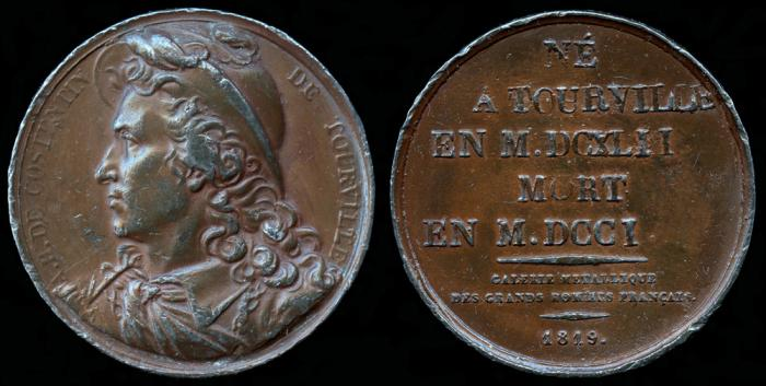 World Coins - 1819 France - Anne Hilarion de Costentin, comte de Tourville (French naval commander and a Marshal of France) by Joseph Arnold Pingret