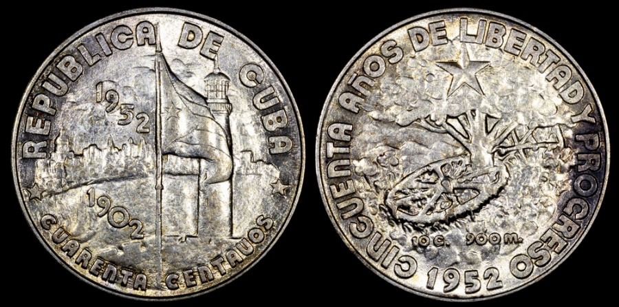 "World Coins - 1952 Cuba 40 Centavos ""50th Year of the Republic"" Silver Commemorative UNC"