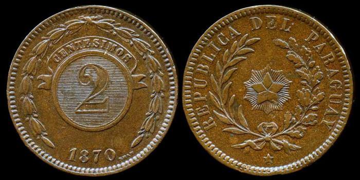 World Coins - 1870 Paraguay 2 Centesimos AU