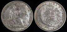 World Coins - 1899 JF Peru 1/5 Sol - Republic Coinage - XF