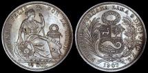 World Coins - 1907 FG-JR Peru 1/2 Sol - Republic Coinage - AU