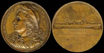 World Coins - 1928 France - Tourville French Navy Cruiser