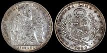 World Coins - 1899 JF Peru 1/5 Sol - Republic Coinage - AU