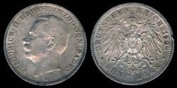 World Coins - 1908 G Baden (German State) 5 Mark AU