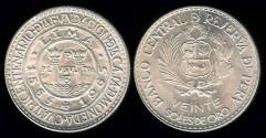 World Coins - 1965 Peru 20 Soles BU - 400th Anniversary of Lima Mint