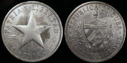 World Coins - 1915 Cuba 40 Centavo - 1st Republic - High Relief Star - VF Silver
