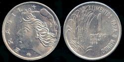 """World Coins - 1975 Brazil 1 Centavo - FAO """"Sugar"""" - BU"""