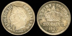 World Coins - 1867 BB France 20 Centimes UNC