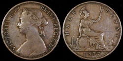 World Coins - 1877 Great Britain 1/2 Penny - Victoria - F