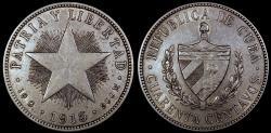 World Coins - 1915 Cuba 40 Centavo - 1st Republic - High Relief Star - XF