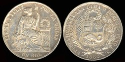 World Coins - 1883 FN Peru 1 Sol AU