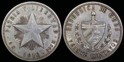 """World Coins - 1916 Cuba 20 Centavos """"Low Relief Star"""" XF"""