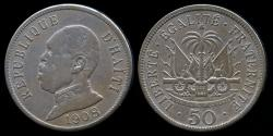 World Coins - 1908 W Haiti 50 Centime VF