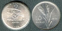 "World Coins - 1975 Turkey 10 Kurus ""FAO"" BU"
