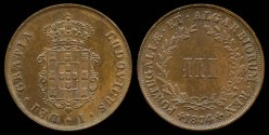 World Coins - 1874 Portugal 3 Reis BU