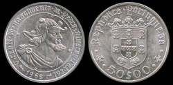 World Coins - 1968 Portugal 50 Escudos - 500th Anniversary Birth of Pedro Alvarez Cabral - Silver Commemorative BU