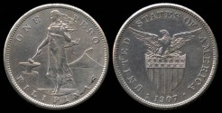 World Coins - 1907 S Philippines 1 Peso AU