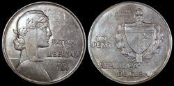 World Coins - 1934 Cuba 1 Peso - ABC Peso - AU