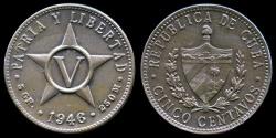 World Coins - 1946 Cuba 5 Centavos - 1st Republic - UNC