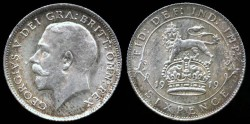 World Coins - 1919 Great Britain 6 Pence UNC