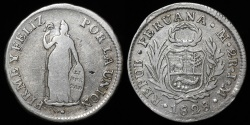 World Coins - 1828 JM Peru 2 Real VF