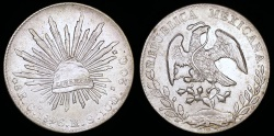 World Coins - 1896 GoRS Mexico 8 Real - Guanajuato Mint - XF Silver