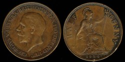 World Coins - 1934 Great Britain 1/2 Penny AU