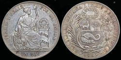 World Coins - 1885 T.D. Peru 1 Sol AU