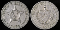 World Coins - 1920 Cuba 5 Centavo - 1st Republic - VF