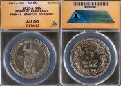 World Coins - 1925 A Weimar Republic 5 Reichsmark - 1000th Year of the Rhineland Silver Commemorative ANACS AU50