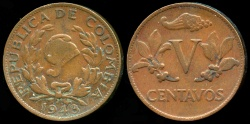 World Coins - 1943 Colombia 5 Centavo VF