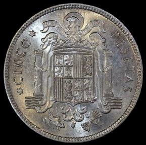 World Coins - 1949 (50) Spain 5 Pesetas - Francisco Franco - BU