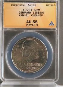 World Coins - 1929 F Weimar Republic 5 Reichsmark