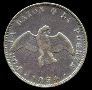 World Coins - 1854 Chile 50 Centavos VF