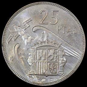 World Coins - 1957 (59) Spain 25 Pesetas - Francisco Franco - BU