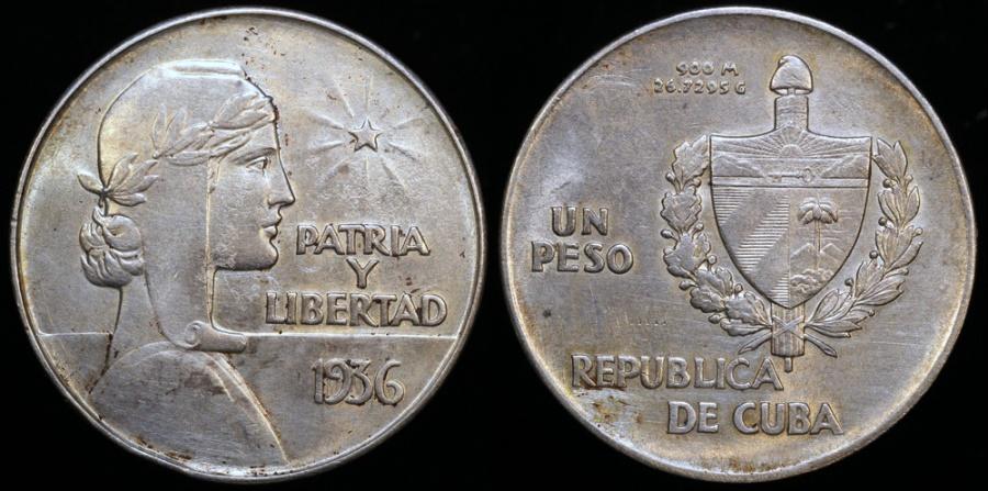 "World Coins - 1936 Cuba 1 Peso ""ABC"" AU"