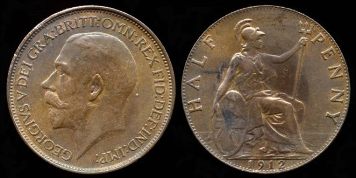World Coins - 1912 Great Britain 1/2 Penny AU