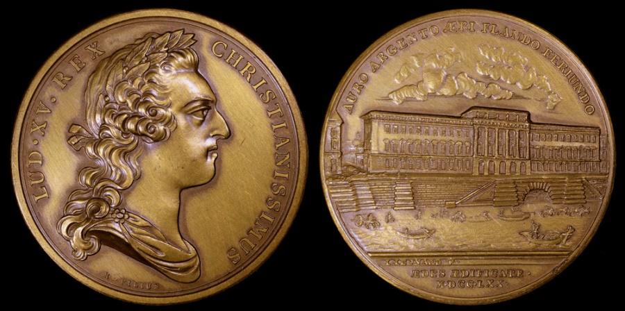 World Coins - 1770 France - King Louis XV - Construction of Paris Mint building by Laurent Leonard and R. Filius