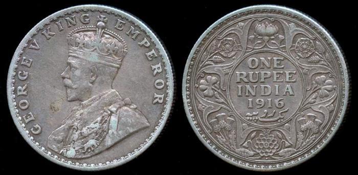 World Coins - 1916 (b) India (British) 1 Rupee XF