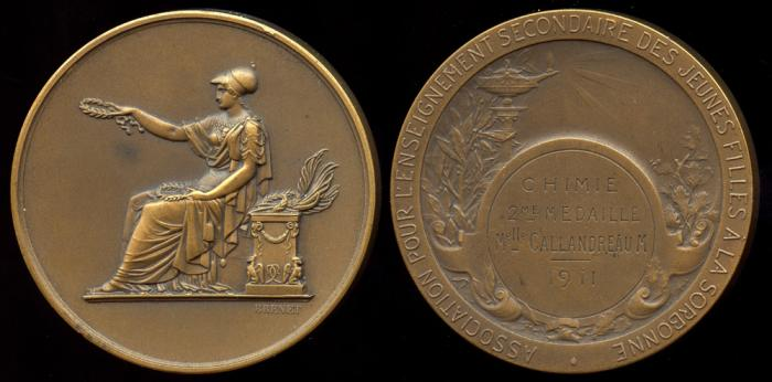 World Coins - 1911 France - Association for the Secondary Education of Girls at the Sorbonne by Nicolas Guy Antoine Brenet - (Chemistry Medal 2nd Place)