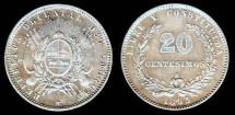 World Coins - 1893/73 So Uruguay 20 Centesimo XF