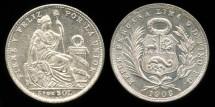 World Coins - 1908 FG Peru 1/5 Sol BU